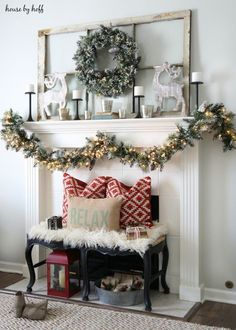 glittery bristle pine wreath and garland winter and christmas mantel decor ideas house by hoff - Christmas Mantel Decorating Ideas Pinterest