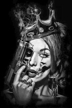art oscuro Andrea Carvalho Costa shared No seas Buena, S Felizs post. Tatuajes D. Chicano Tattoos, Chicano Art, Body Art Tattoos, Girl Tattoos, Arte Cholo, Cholo Art, Fille Gangsta, Skull Girl Tattoo, New Tattoo Designs