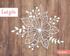 Floral digital cut file svg dxf png for use with by handipaper Paper Flowers Diy, Flower Crafts, Flower Art, Kirigami, Paper Art, Paper Crafts, Paper Cutting Patterns, Housewarming Card, Bargello Quilts