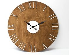 This is a rustic style wall clock. Roman wood wall clock, beautiful gift for your home! Farmhouse Wall Clocks, Rustic Wall Clocks, Wood Clocks, Rustic Walls, Big Wall Clocks, Unique Wall Clocks, Clock Wall, Wall Art, Wooden Lanterns