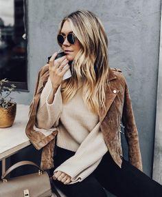 Suede moto + cozy sweater.