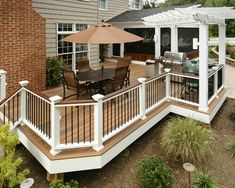 Patio, Traditional Exterior With Inspiring Porch Rail Designs Also Elegant Outdoor Dining Set With Umbrella Also Stainless Barbecue Tools: Porch Bamboo Blinds Ideas