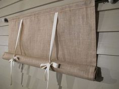 Natural Burlap 36 Inch Long Stage Coach Blind Swedish Roll Up Shade Tie Up Curtain Swag Balloon