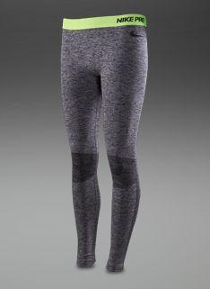 Nike Womens Pro Seamless Hyperwarm Tights - Womens Running Clothing - Black Heather-Black-Cool Grey