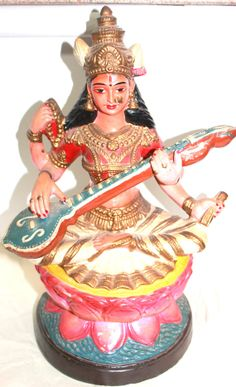 Hindu Lakshmi Statue Carved Painted India by AntiqueAlchemyShop, $95.00