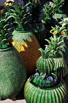 Famous green pineapple pottery from Michoacan, Mexico