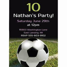 Our Realistic Soccer Invitation has a trendy design a soccer ball sitting on a grass field with a black background. Soccer Birthday Parties, Soccer Party, Soccer Ball, Games For Kids, Kid Games, Birthday Invitations, Invites, Personalized Invitations, Party Themes