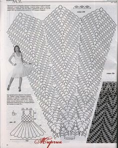 "Crochet Skirts Assign a white dress Description of ""fashion magazine"" № 567 2013 г. Dress connected hook № 500 g of white cotton yarn m * 100 g). Size How to connect crochet dress Crochet Diagram, Crochet Chart, Filet Crochet, Irish Crochet, Crochet Stitches, Black Crochet Dress, Crochet Skirts, Crochet Fabric, Crochet Edgings"
