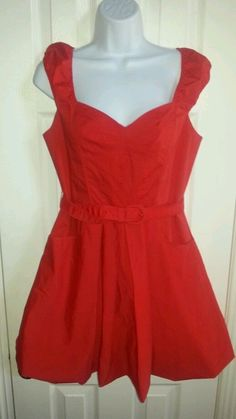 Armani Exchange 4 Red 98%Cotton Bubble Dress tailored with bustier lined mini