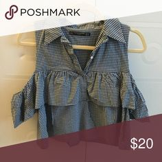 Zara Gingham cold shoulder blouse Adorable Zara cold shoulder blue + white gingham / plaid blouse. Slightly cropped button up with a collar and ruffled off shoulder sleeves. Worn only a few times. Absolutely beautiful for summer! Zara Tops Blouses