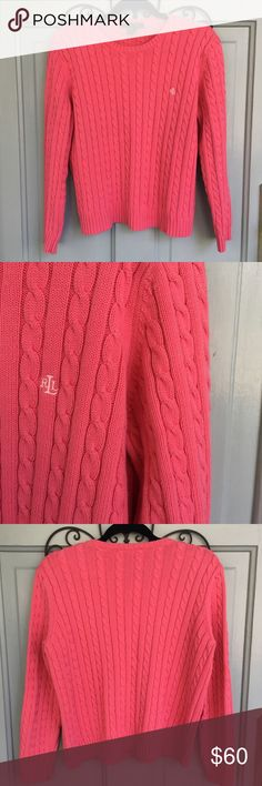 Lauren Ralph Lauren Cable Knit Pink Sweater Lauren Ralph Lauren Cable Knit Pink Sweater, crew neck, barely worn, so comfy and perfect for the upcoming fall weather! Open to reasonable offers:) Lauren Ralph Lauren Sweaters Crew & Scoop Necks