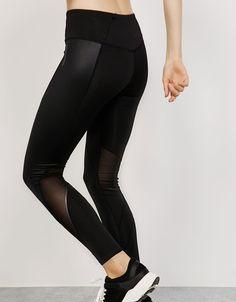 Legging Sport técnico tiro alto contrastes. Descubre ésta y muchas otras prendas en Bershka con nuevos productos cada semana