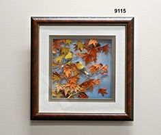 """ArtAll 3D Cut Paper Pictures/Two Goldfinch With Fall LeavesDimensions: 17"""" x 17""""  Framed  Handcut 3D Paper Picture  Handmade in China $199"""