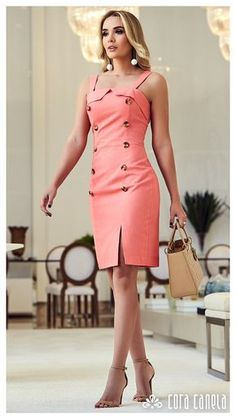 Amazing coral dress for work Elegant Dresses, Sexy Dresses, Cute Dresses, Beautiful Dresses, Casual Dresses, Short Dresses, Dresses For Work, Summer Dresses, Chic Outfits
