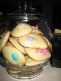 Bobe's cookies!  Beat 6 eggs till fluffy.  Add 1 cup sugar, salt and a tsp of vanilla and beat.  Add 1 cup of oil and beat.  Add 3 cups of flour w/ 1 tsp of baking powder (mixed into the flour).  Mix.  Bake drop cookies after decorating as you desire on greased cookie sheet - 350 oven 8-10 minutes.