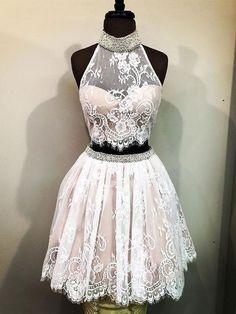9138a0dd8471 A Line 2 Pieces Short Champagne Lace Prom Dresses, 2 Pieces Champagne Lace  Homecoming Dresses, Short Formal Dresses, Graduation Dresses