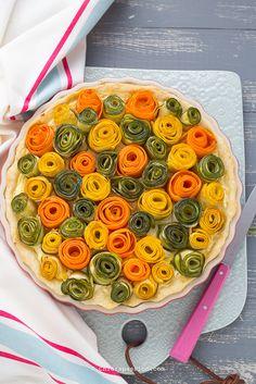 Torta salata con ROSE di verdure, Veggie zucchini and carrots roses tart. Chiarapassion