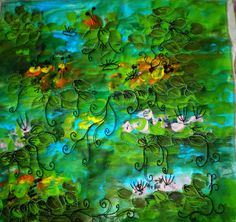 Waterlillies, inspired by Monet, landscape fiber art, mixed media art quilt by Crearts on Etsy