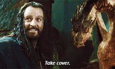 "The Hobbit: The Desolation of Smaug (gif) <--- looks like Biblo figured it out first with his ""oh shit"" face lol"