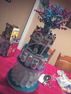 Birthday gift idea Source by Uploaded by user 21st Cake, 21st Birthday Cakes, 21 Birthday, Alcohol Birthday Cake, Alcohol Cake, Alcohol Gifts, Birthday Crafts, Birthday Decorations, Love Surprise
