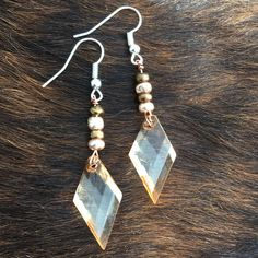 Champagne Colored, Glass Seed Beads and Copper Wire Earrings
