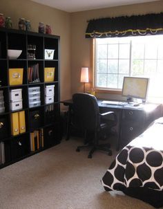 bedroom and office. Office/guest Room Combo - Not A Fan Of The Color Scheme, But Good Bedroom And Office