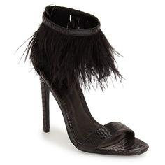 "Topshop 'Ravenous' Feather Sandal, 4 1/2"" heel (1 580 ZAR) ❤ liked on Polyvore featuring shoes, sandals, heels, black, black shoes, high heel platform sandals, heeled sandals, black heel sandals, ankle strap heel sandals and ankle strap sandals"