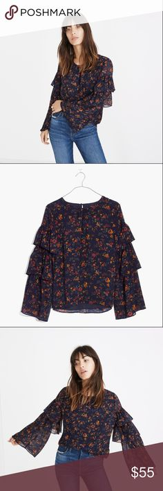 [NWT] Madewell Ruffle Long Sleeve Floral Top A zero-effort way to update your jeans-and-a-top game, this floral shirt with tiered ruffle sleeves is perfect for post-work hangs, coffee dates, dinner plans—you name it. Madewell Tops Blouses