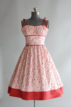1950s Red and White Floral Cotton Dress With Shelf Bust, Red Spaghetti Straps, and Contrasting Trim at the Hem of the Skirt by TuesdayRoseVintage