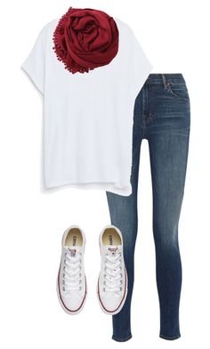 #fall #outfits / Red Scarf + Sneakers