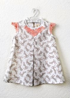 Handmade Bunny Print & Lace Easter Baby Girls Dress | supayana on Etsy #easteroutfit
