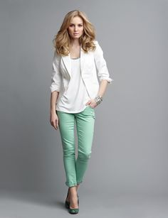 Cute for casual Friday at work - The Limited Stretch Sateen Jacket in White, Sequin Trim Tank in White, Colorful Skinny Jean in Mint Green, Heels, & Bracelet