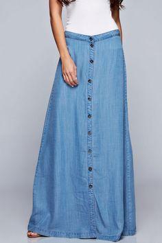 Long Light Denim Skirt
