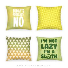 Today's Forecast: No | Yellow Pinwheel Pattern Triangle Ombre Pattern | I'm a Sloth #pillows #pillowset #sloths #lazy #lazysloth #ombre #triangles