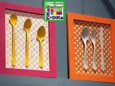 Foto: Dê um toque colorido em sua cozinha com este lindo quadro feito com talheres pintados. PAP=>http://www.bemsimples.com/br/artesanato/58220-quadro-para-cozinha #recycling #diy #handmade #doityourself #fikaadika #reciclagem  Fika a Dika - Por um Mundo Melhor