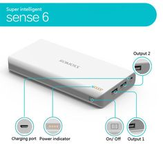 ROMOSS Sense 6 20000mAh Portable USB LCD Universal Power Bank Battery Charger #Unbranded