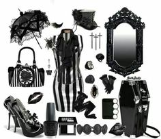 Black and white striped goth outfit of my dreams!