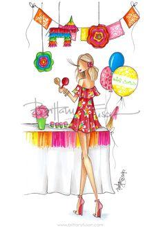 Cinco de Mayo | celebration | birthday party | sale | fashion illustration | off the shoulder dress | Brittany Fuson