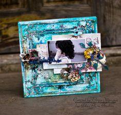 Blue Fern Studios: Mixed media canvas+video tutorial and cards from Elena Morgun Mixed Media Cards, Mixed Media Journal, Scrapbook Canvas, Sunshine Studio, Diy Canvas Art, Canvas Ideas, Altered Canvas, Mixed Media Techniques, Book Crafts