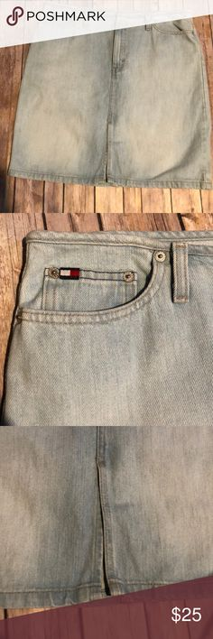 """Tommy Hilfiger Vintage Light Wash Jean Skirt Sz 12 Tommy Hilfiger Vintage Light Wash Jean Skirt Sz 12 Pencil skirt with slit in front.  Zipper closure with clasp  5 pocket and belt loops  Waist 17"""" laying flat Length 20.5"""" Tommy Hilfiger Skirts Pencil"""