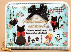 Q-Lia wallet Silhouette of cat town -- Do you want to go beyond the window?