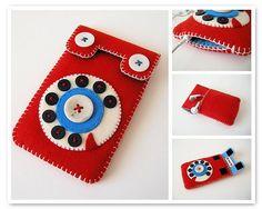 Felt cover for mobile, iPod. Felt Diy, Felt Crafts, Kids Crafts, Diy And Crafts, Arts And Crafts, Felt Phone Cases, Felt Case, Iphone Phone Cases, Phone Covers
