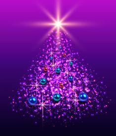 Purple Christmas Tree, Christmas Art, Xmas Tree, Christmas Holidays, Christmas Decorations, Christmas Tables, Coastal Christmas, Table Decorations, Purple Love