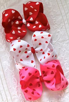 Valentine Heart Hair Bow Extra Large Grosgrain