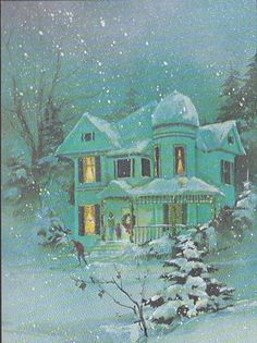 Vintage 1960s Christmas Card...would like to live in this house
