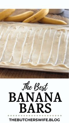 The BEST Banana Bars you will ever eat! Sweet, moist and full of delicious banana flavor with a smooth cream cheese frosting Banana Recipes Easy, Banana Dessert Recipes, Easy Banana Bread, Apple Bread, Cake Recipes, Gluten Free Shortbread Cookies, Chocolate Dipped Bananas, Bread Bar, Banana Bars