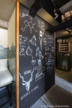 Created by Aggeliki Mpantouna -Takis Tsopanakis. Coffee Shake, Espresso Bar, Samos, Blackboards, Cocktails, Island, Gifts, Design, Craft Cocktails
