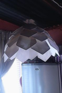 Wire and tissue paper lampshade