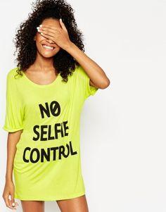 ASOS No Selfie Control Oversized Pyjama Tee at asos.com