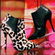 leopard and army green Steve Madden booties